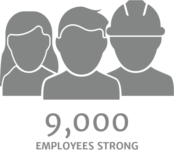 9,000 employees strong